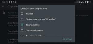 copia de seguridad google drive conversaciones en whatsapp