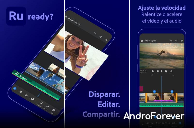 interfaz app adobe premiere rush